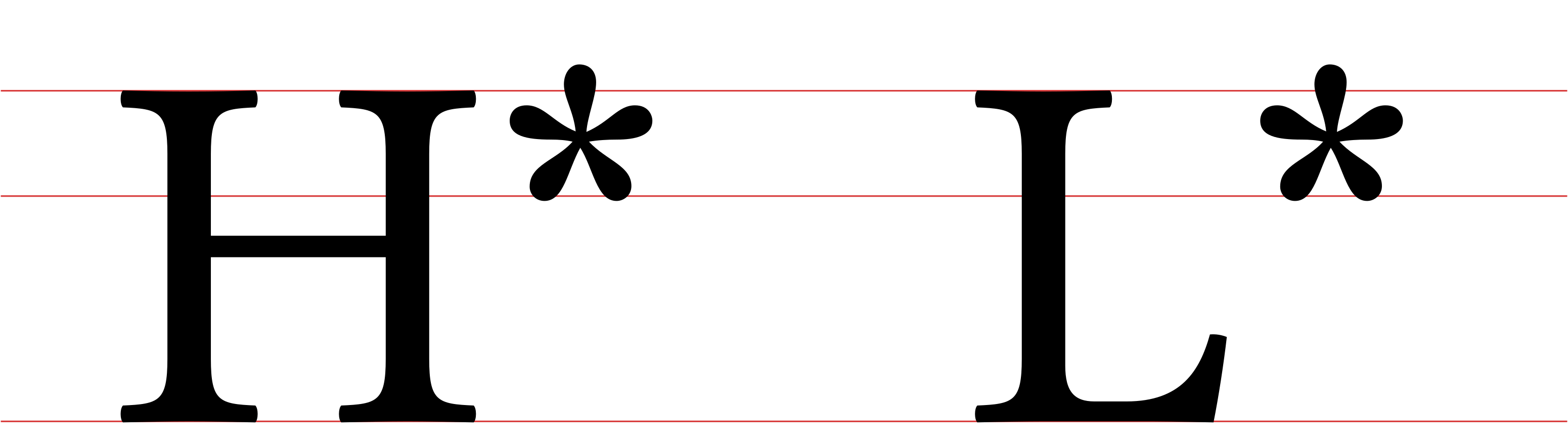 A sample of the basic tone markers in ToBI: a H* and a L* tones,  with red lines marking the baseline, the median, and the ascender height