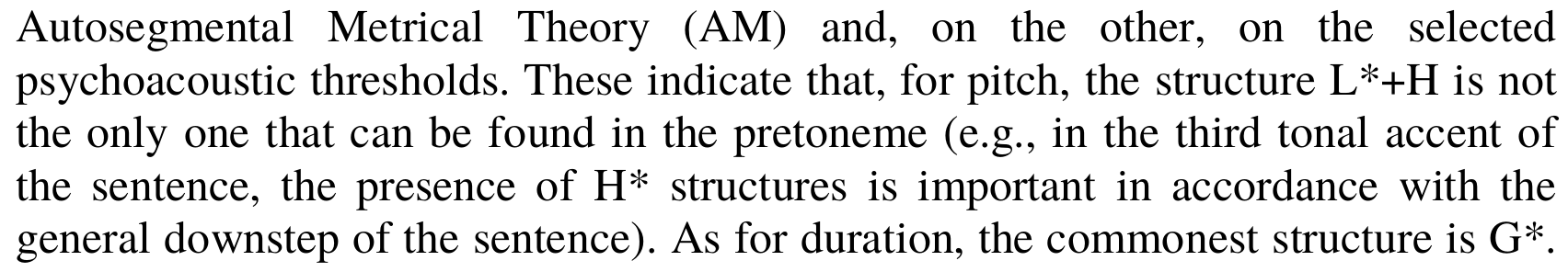 A couple of lines from an academic paper where compound tones appear  as part of sentences. The text uses the standard typesetting of ToBI tones,  which does not blend into the surrounding text