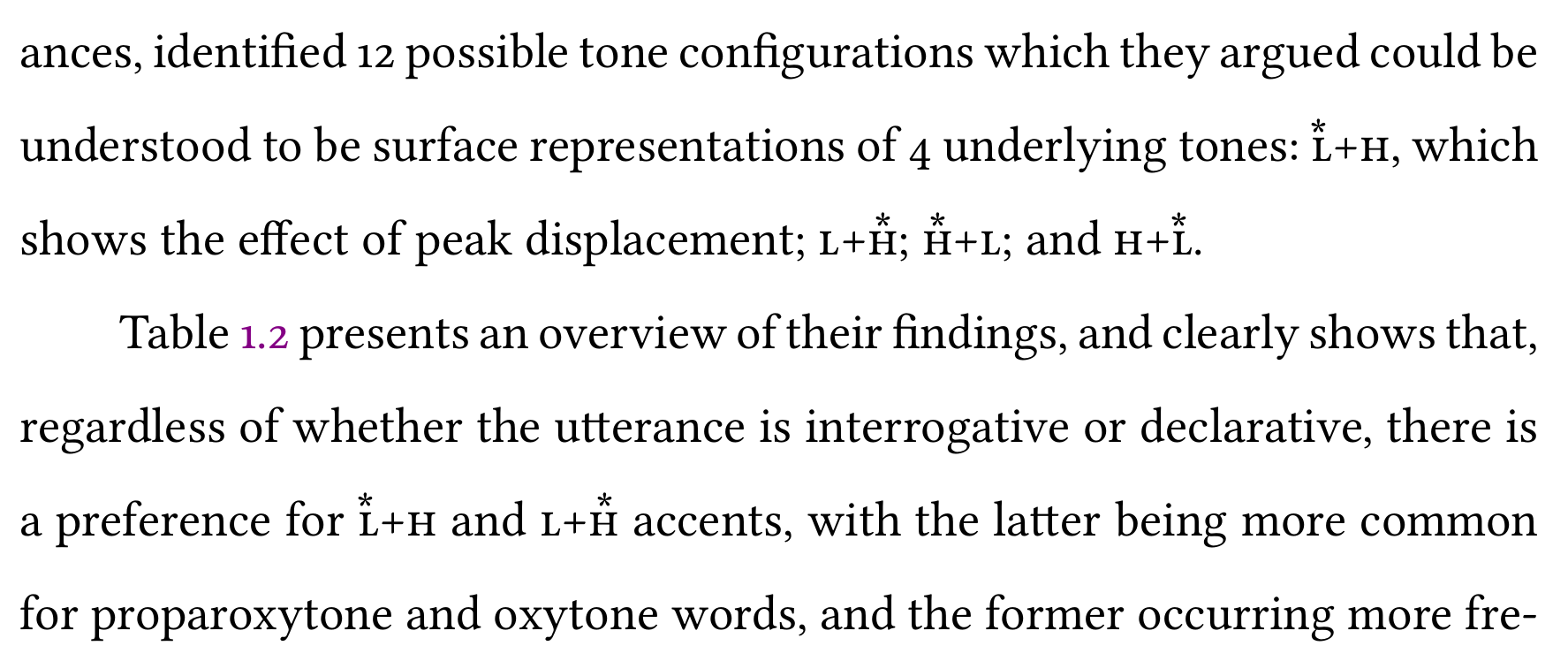 A couple of lines from an academic paper where compound tones appear  as part of sentences. The text uses the custom typesetting for ToBI tones,  which makes them blend into the surrounding text